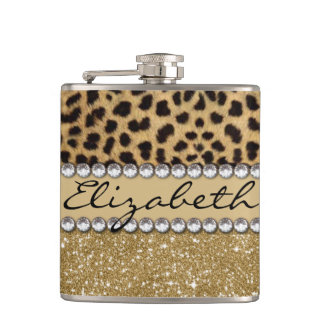 Leopard Spot Gold Glitter Rhinestone PHOTO PRINT Flask