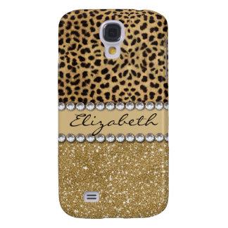 Leopard Spot Gold Glitter Rhinestone PHOTO PRINT Galaxy S4 Cover