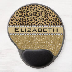 Leopard Spot Gold Glitter Rhinestone Photo Print Gel Mouse Pad at Zazzle