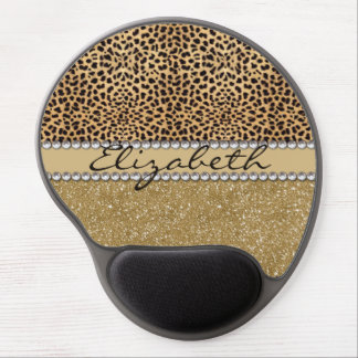 Leopard Spot Gold Glitter Rhinestone PHOTO PRINT Gel Mouse Pad