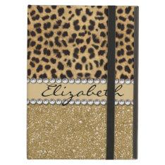 Leopard Spot Gold Glitter Rhinestone Photo Print Ipad Air Cases at Zazzle