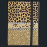 "Leopard Spot Gold Glitter Rhinestone PHOTO PRINT iPad Air Cover<br><div class=""desc"">This design is made with brown leopard spots and a gold glitter that sparkles on the bottom. The center is left for personalization / personalize surrounded with white diamond rhinestones. (Photo Printed)</div>"
