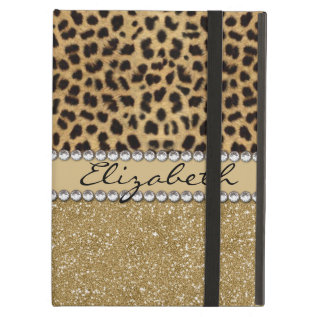 Leopard Spot Gold Glitter Rhinestone Photo Print Ipad Air Cover at Zazzle