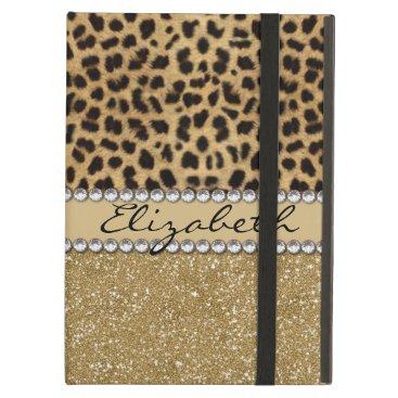 Leopard Spot Gold Glitter Rhinestone PHOTO PRINT iPad Air Cover