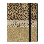 Leopard Spot Gold Glitter Rhinestone PHOTO PRINT iPad Folio Cases