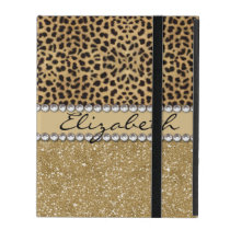 Leopard Spot Gold Glitter Rhinestone PHOTO PRINT iPad Cover