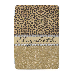 Leopard Spot Gold Glitter Rhinestone PHOTO PRINT iPad Mini Cover