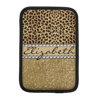 Leopard Spot Gold Glitter Rhinestone PHOTO PRINT iPad Mini Sleeve