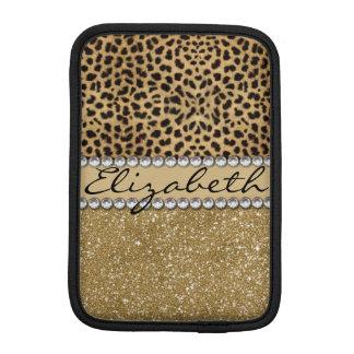 Leopard Spot Gold Glitter Rhinestone PHOTO PRINT iPad Mini Sleeve