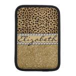 Leopard Spot Gold Glitter Rhinestone PHOTO PRINT Sleeve For iPad Mini