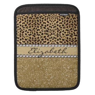 Leopard Spot Gold Glitter Rhinestone PHOTO PRINT iPad Sleeves