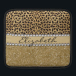 """Leopard Spot Gold Glitter Rhinestone PHOTO PRINT iPad Sleeve<br><div class=""""desc"""">This design is made with brown leopard spots and a gold glitter that sparkles on the bottom. The center is left for personalization / personalize surrounded with white diamond rhinestones. (Photo Printed)</div>"""
