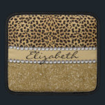 "Leopard Spot Gold Glitter Rhinestone PHOTO PRINT iPad Sleeve<br><div class=""desc"">This design is made with brown leopard spots and a gold glitter that sparkles on the bottom. The center is left for personalization / personalize surrounded with white diamond rhinestones. (Photo Printed)</div>"