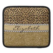 Leopard Spot Gold Glitter Rhinestone PHOTO PRINT iPad Sleeve