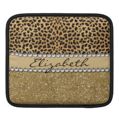 Leopard Spot Gold Glitter Rhinestone Photo Print Ipad Sleeve at Zazzle