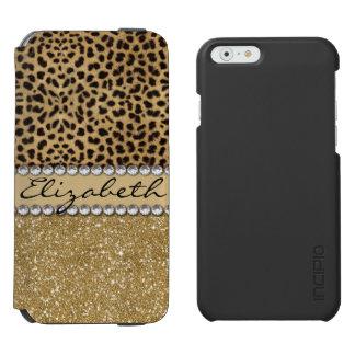 Leopard Spot Gold Glitter Rhinestone PHOTO PRINT iPhone 6/6s Wallet Case