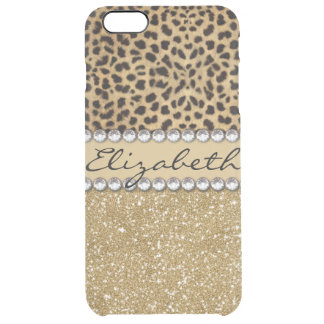 Leopard Spot Gold Glitter Rhinestone PHOTO PRINT Uncommon Clearly™ Deflector iPhone 6 Plus Case