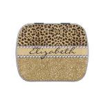 Leopard Spot Gold Glitter Rhinestone PHOTO PRINT Jelly Belly Candy Tin