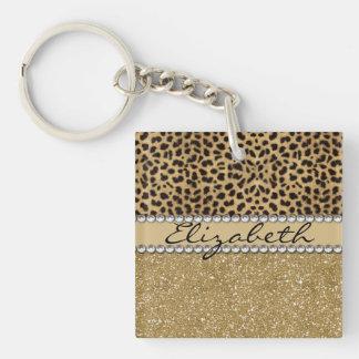 Leopard Spot Gold Glitter Rhinestone PHOTO PRINT Keychain