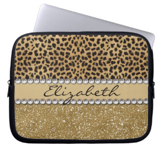 Leopard Spot Gold Glitter Rhinestone PHOTO PRINT Laptop Computer Sleeve