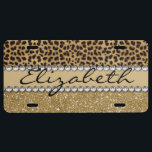 """Leopard Spot Gold Glitter Rhinestone PHOTO PRINT License Plate<br><div class=""""desc"""">This design is made with brown leopard spots and a gold glitter that sparkles on the bottom. The center is left for personalization / personalize surrounded with white diamond rhinestones. (Photo Printed)</div>"""