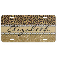 Leopard Spot Gold Glitter Rhinestone Photo Print License Plate at Zazzle