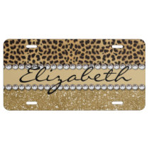 Leopard Spot Gold Glitter Rhinestone PHOTO PRINT License Plate
