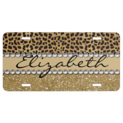 Leopard Spot Gold Glitter Rhinestone PHOTO PRINT License Plate