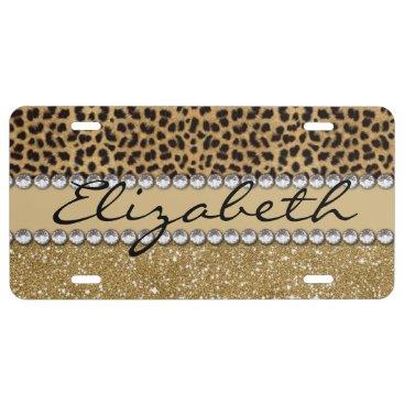 ironydesigns Leopard Spot Gold Glitter Rhinestone PHOTO PRINT License Plate