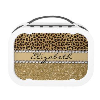 Leopard Spot Gold Glitter Rhinestone PHOTO PRINT Yubo Lunchbox
