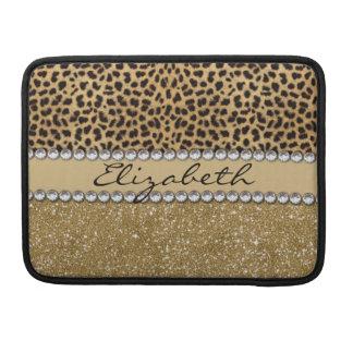 Leopard Spot Gold Glitter Rhinestone PHOTO PRINT MacBook Pro Sleeve