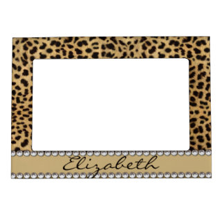 Leopard Spot Gold Glitter Rhinestone PHOTO PRINT Photo Frame Magnets