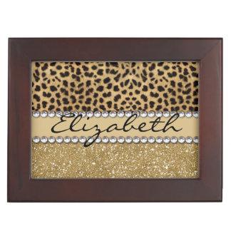 Leopard Spot Gold Glitter Rhinestone PHOTO PRINT Memory Box