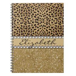 Leopard Spot Gold Glitter Rhinestone PHOTO PRINT Notebook
