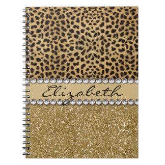 Leopard Spot Gold Glitter Rhinestone PHOTO PRINT Notebooks