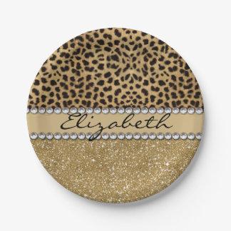 Leopard Spot Gold Glitter Rhinestone PHOTO PRINT Paper Plate