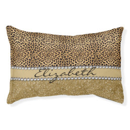 Leopard Spot Gold Glitter Rhinestone PHOTO PRINT Pet Bed