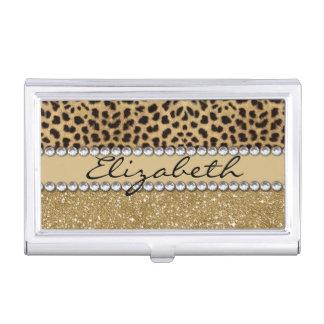 Leopard Spot Gold Glitter Rhinestone PHOTO PRINT Business Card Holders