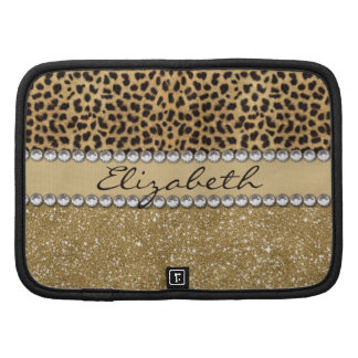 Leopard Spot Gold Glitter Rhinestone PHOTO PRINT Folio Planners