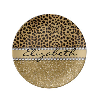 Leopard Spot Gold Glitter Rhinestone PHOTO PRINT Porcelain Plates