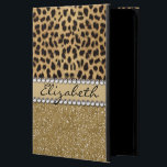 "Leopard Spot Gold Glitter Rhinestone PHOTO PRINT Powis iPad Air 2 Case<br><div class=""desc"">This design is made with brown leopard spots and a gold glitter that sparkles on the bottom. The center is left for personalization / personalize surrounded with white diamond rhinestones. (Photo Printed)</div>"