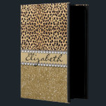 """Leopard Spot Gold Glitter Rhinestone PHOTO PRINT Powis iPad Air 2 Case<br><div class=""""desc"""">This design is made with brown leopard spots and a gold glitter that sparkles on the bottom. The center is left for personalization / personalize surrounded with white diamond rhinestones. (Photo Printed)</div>"""