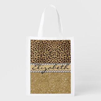 Leopard Spot Gold Glitter Rhinestone PHOTO PRINT Reusable Grocery Bags