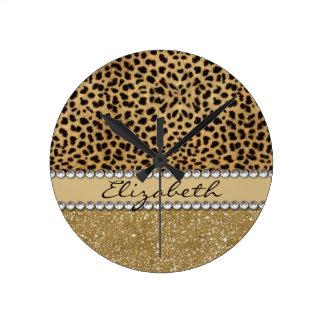 Leopard Spot Gold Glitter Rhinestone PHOTO PRINT Round Clock