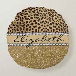 Leopard Spot Gold Glitter Rhinestone PHOTO PRINT Round Pillow