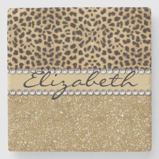 Leopard Spot Gold Glitter Rhinestone PHOTO PRINT Stone Coaster