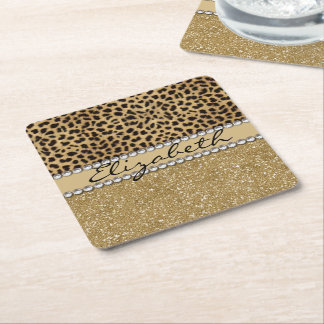 Leopard Spot Gold Glitter Rhinestone PHOTO PRINT Square Paper Coaster