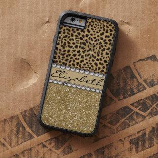 Leopard Spot Gold Glitter Rhinestone PHOTO PRINT Tough Xtreme iPhone 6 Case