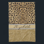 """Leopard Spot Gold Glitter Rhinestone PHOTO PRINT Towel<br><div class=""""desc"""">This design is made with brown leopard spots and a gold glitter that sparkles on the bottom. The center is left for personalization / personalize surrounded with white diamond rhinestones. (Photo Printed)</div>"""
