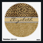 """Leopard Spot Gold Glitter Rhinestone PHOTO PRINT Wall Sticker<br><div class=""""desc"""">This design is made with brown leopard spots and a gold glitter that sparkles on the bottom. The center is left for personalization / personalize surrounded with white diamond rhinestones. (Photo Printed)</div>"""